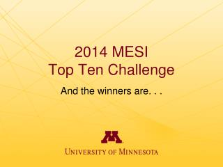 2014 MESI Top Ten Challenge