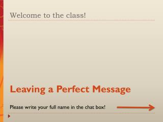 Welcome to the class!