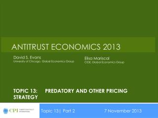 Topic 13:Predatory and other pricing strategy
