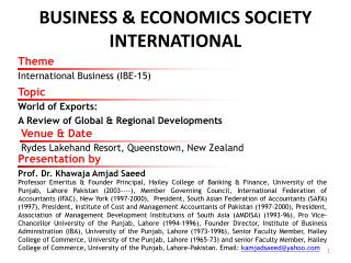 BUSINESS & ECONOMICS SOCIETY INTERNATIONAL