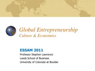 Global Entrepreneurship Culture & Economies