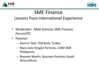 SME Finance  Lessons from International Experience