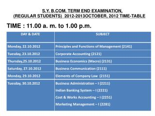 S.Y. B.COM. TERM END EXAMINATION,  (REGULAR STUDENTS)  2012-2013OCTOBER, 2012 TIME-TABLE TIME : 11.00 a. m. to 1.00 p.m