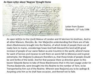 Letter from Queen Elizabeth, 11 th  July 1596