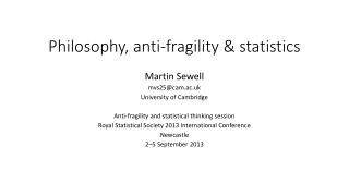 Philosophy, anti-fragility & statistics