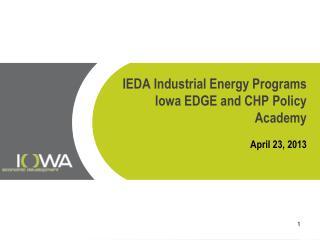 IEDA Industrial Energy Programs Iowa EDGE and CHP Policy Academy