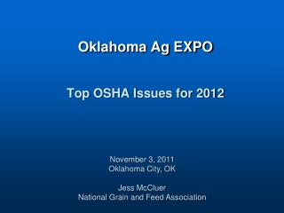 Oklahoma Ag EXPO Top OSHA Issues for 2012