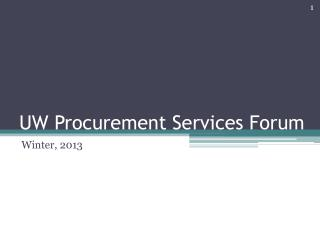 UW Procurement Services Forum