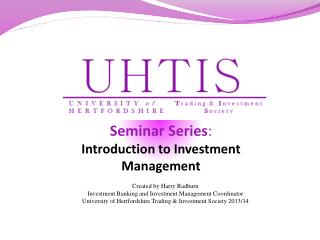 Seminar Series : Introduction to Investment Management