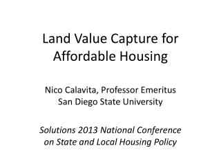 Land Value Capture for Affordable Housing