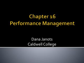 Chapter 16 Performance Management