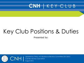 Key Club Positions & Duties