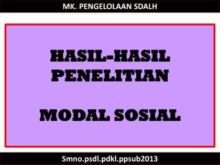 MK. PENGELOLAAN SDALH