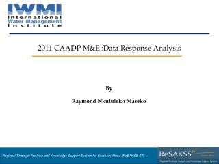 2011 CAADP M&E :Data Response Analysis