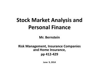 Stock Market Analysis and Personal Finance