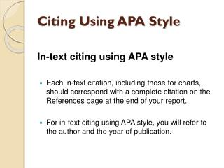 Citing Using APA Style
