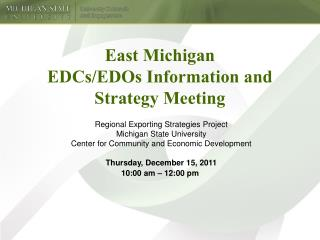 East Michigan EDCs/EDOs Information and Strategy Meeting