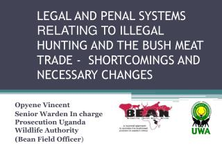 LEGAL AND PENAL SYSTEMS  RELATING  TO ILLEGAL HUNTING AND THE BUSH MEAT TRADE -  SHORTCOMINGS AND NECESSARY CHANGES