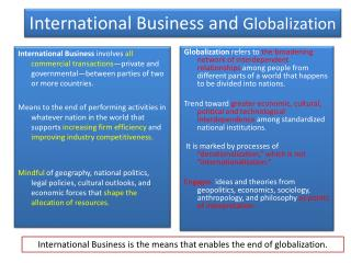 International Business and  Globalization
