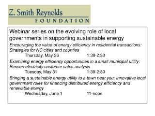 Webinar series on the evolving role of local governments in supporting sustainable energy