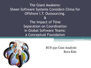 BUS 550 Case Analysis  Bora Kim