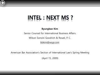 Intel : Next MS ?