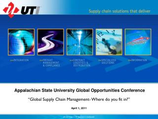 "Appalachian State University Global Opportunities Conference ""Global Supply Chain Management- Where do you fit in?"""
