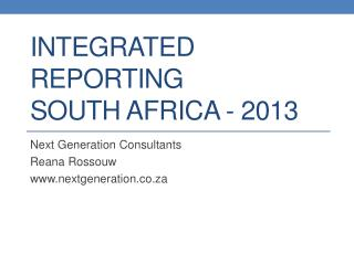 Integrated Reporting South Africa - 2013