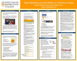 Digital Marketing & Social Media at a Distance  College Heather Shalhoub,  Empire  State College  Library h eather.shal