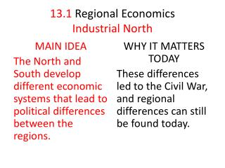 13.1 Regional  Economics Industrial North