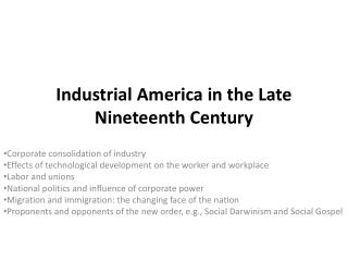 Industrial America in the Late Nineteenth Century