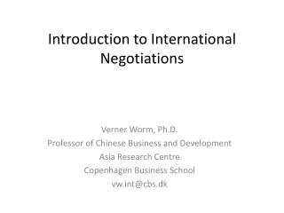 Introduction to International Negotiations