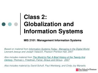 Class 2:  Globalization and Information Systems