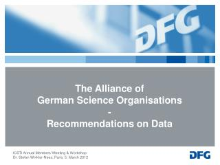 The Alliance of  German Science Organisations  - Recommendations on Data