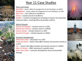 Year 11 Case Studies