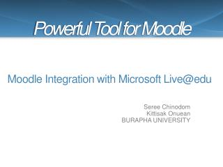 Moodle Integration with Microsoft  Live@edu