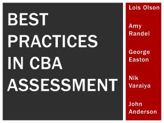 BEST PRACTICES IN CBA ASSESSMENT