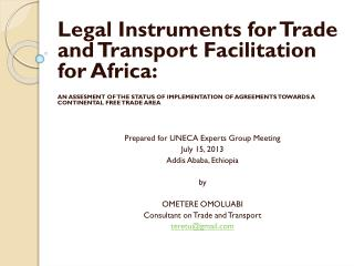 Legal Instruments for Trade and Transport Facilitation for Africa :