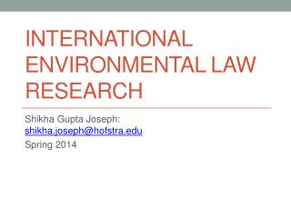 International Environmental law  research