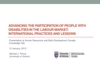 Advancing the participation of people with disabilities in the labour market:  INTERNATIONAL PRACTICES AND LESSONS
