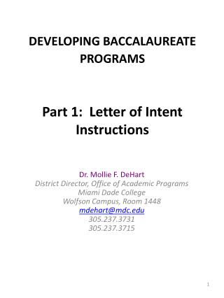DEVELOPING BACCALAUREATE PROGRAMS Part 1:  Letter of Intent Instructions