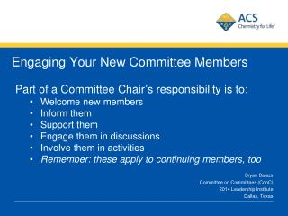 Engaging Your New Committee Members
