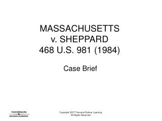 MASSACHUSETTS v. SHEPPARD 468 U.S. 981 1984
