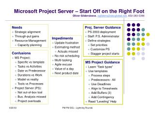 Microsoft Project Server – Start Off on the Right Foot Oliver Gildersleeve ,  ogilders@sbcglobal.net , 650-283-5398