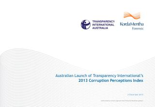 Australian  Launch  of Transparency International's  2013 Corruption Perceptions Index