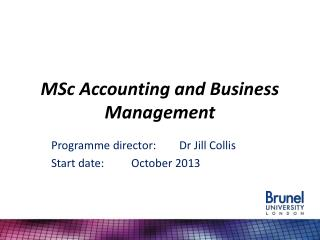 MSc Accounting and Business  Management