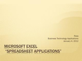 "Microsoft Excel   ""Spreadsheet Applications"""