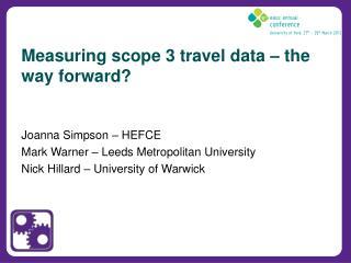 Measuring scope 3 travel data – the way forward?