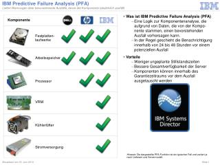 IBM Predictive Failure Analysis (PFA)
