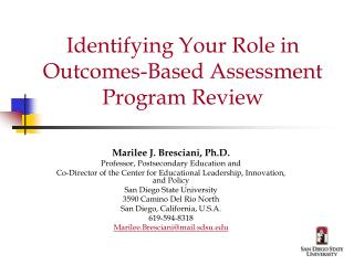 Identifying Your Role in Outcomes-Based Assessment Program Review